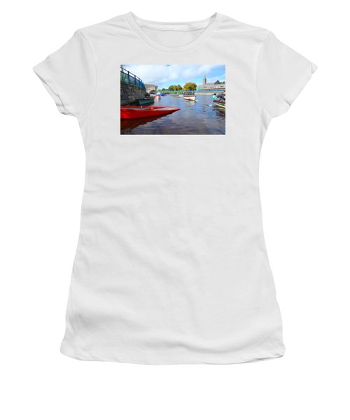 Women's T-Shirt (Junior Cut) featuring the photograph Boats On The Garavogue by Charlie and Norma Brock