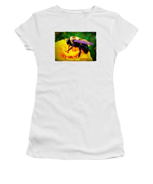 Bumblebee With Bokeh Women's T-Shirt (Junior Cut) by Judi Bagwell