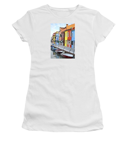 Women's T-Shirt (Junior Cut) featuring the photograph Burano Italy 2 by Rebecca Margraf