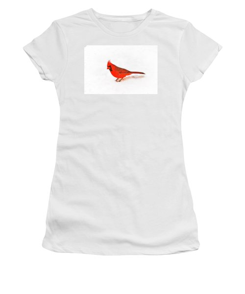 Women's T-Shirt (Junior Cut) featuring the photograph Young Cardinal's Curiosity by Tamyra Ayles