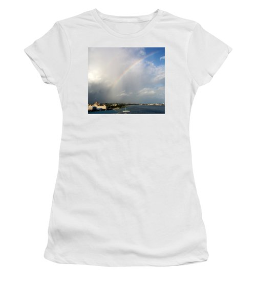 Women's T-Shirt featuring the photograph Caribbean Rainbow by Cynthia Amaral