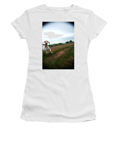 Women's T-Shirt (Junior Cut) featuring the photograph Chased By A Crazy Goat by Lon Casler Bixby