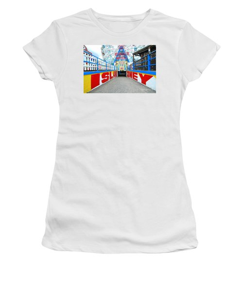 Coney Island Sign Women's T-Shirt (Junior Cut) by Mark Gilman
