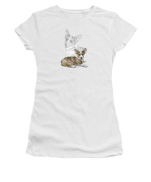 Women's T-Shirt (Junior Cut) featuring the drawing Corgi Dog Art Print Color Tinted by Kelli Swan