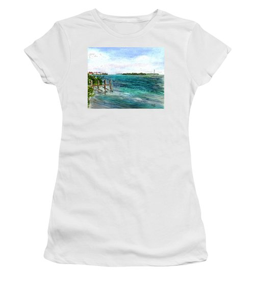 Women's T-Shirt (Junior Cut) featuring the painting Cudjoe Bay by Clara Sue Beym