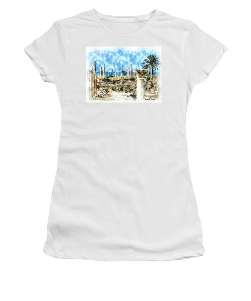 Do-00550 Ruins And Columns Women's T-Shirt (Athletic Fit)