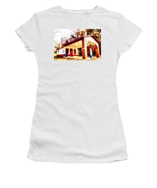 Esso Filling Station Women's T-Shirt (Junior Cut) by Lynne Jenkins
