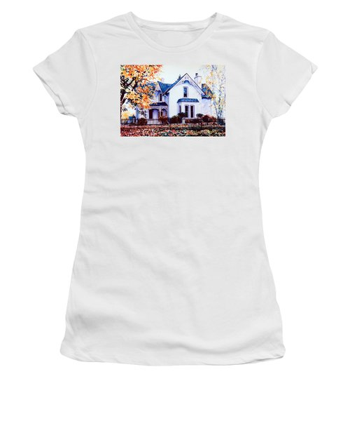 Women's T-Shirt (Athletic Fit) featuring the painting Family Home Portrait by Hanne Lore Koehler