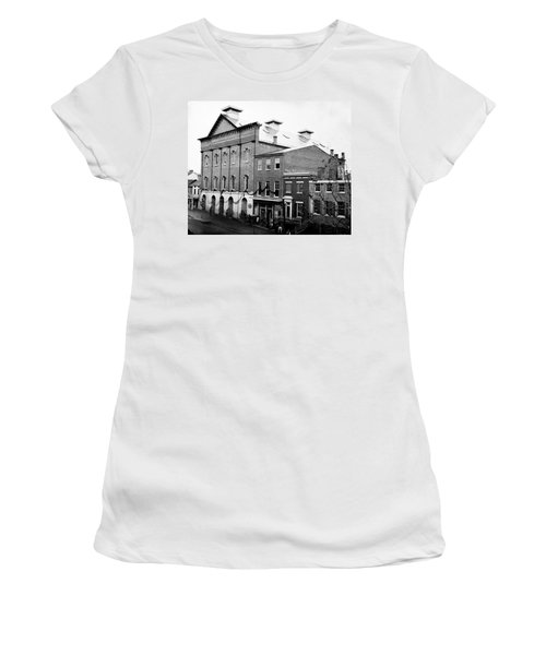 Women's T-Shirt (Junior Cut) featuring the photograph Fords Theater - After Lincolns Assasination - 1865 by International  Images