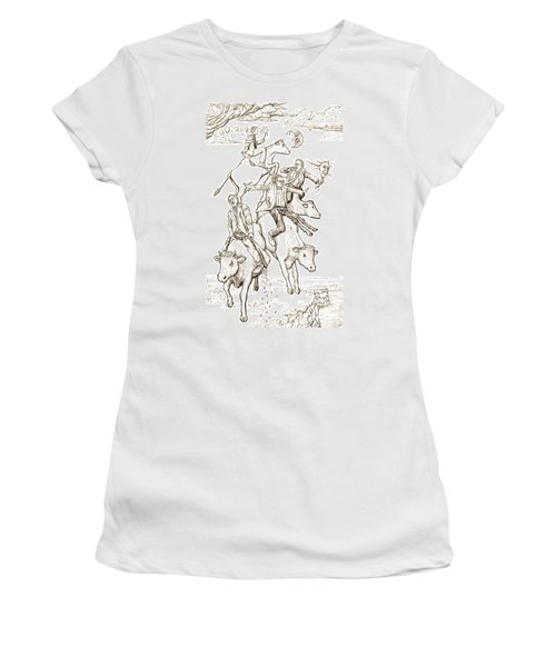Women's T-Shirt (Junior Cut) featuring the digital art Four Mad Cowboys Of The Apocalypse by Russell Kightley
