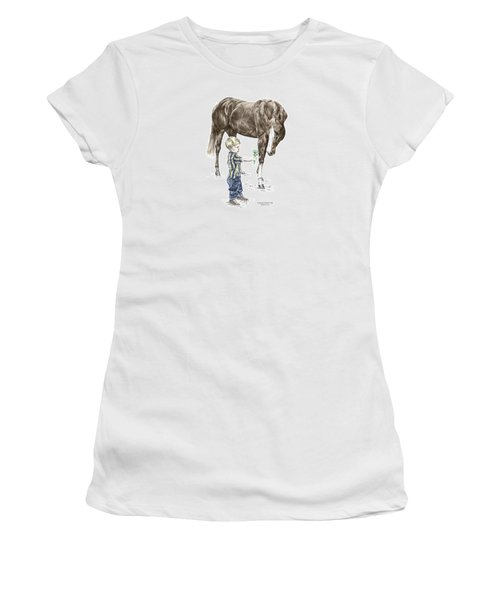 Women's T-Shirt (Junior Cut) featuring the drawing Getting To Know You - Boy And Horse Print Color Tinted by Kelli Swan