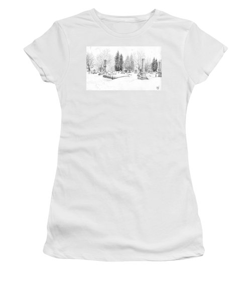 Graveyard In The Snow Women's T-Shirt (Athletic Fit)