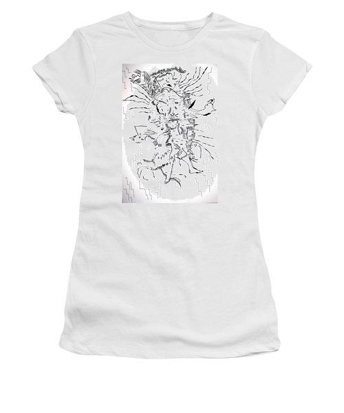 Women's T-Shirt (Junior Cut) featuring the drawing Gule Wamkulu - Malawi by Gloria Ssali