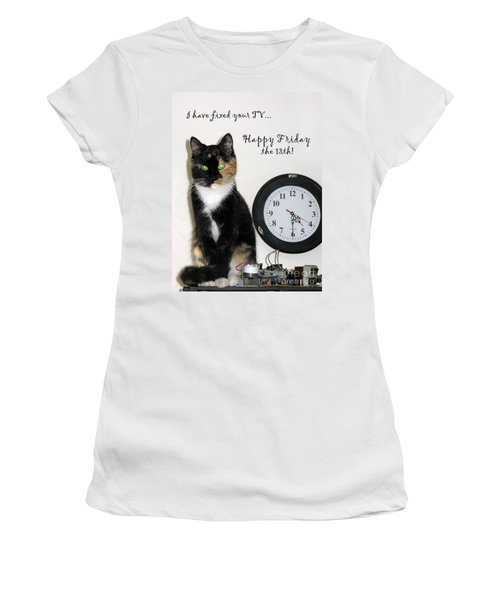Women's T-Shirt (Athletic Fit) featuring the photograph Happy Friday The 13th by Ausra Huntington nee Paulauskaite