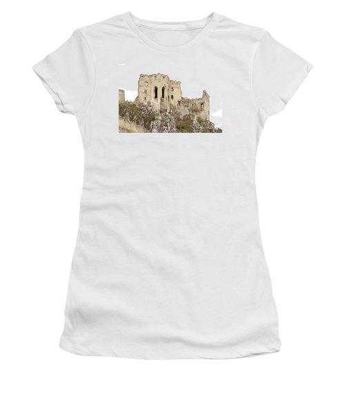 Women's T-Shirt (Junior Cut) featuring the photograph Hrad Beckov Castle by Les Palenik