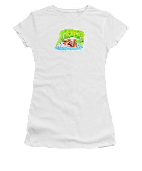 Women's T-Shirt (Junior Cut) featuring the drawing Longhorns In Bluebonnets by Mike Ivey