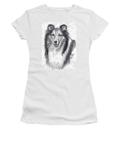 Women's T-Shirt (Junior Cut) featuring the drawing Looks Like Lassie by Julie Brugh Riffey