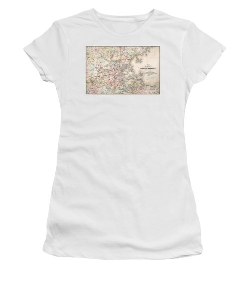 Map: Boston, 1883 Women's T-Shirt