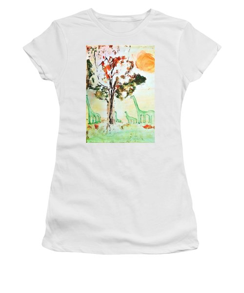 Women's T-Shirt (Junior Cut) featuring the painting Matei's Dinosaurs by Evelina Popilian