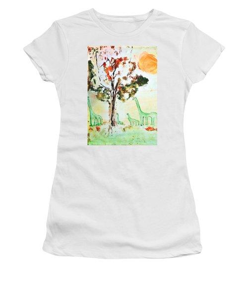 Matei's Dinosaurs Women's T-Shirt (Junior Cut) by Evelina Popilian
