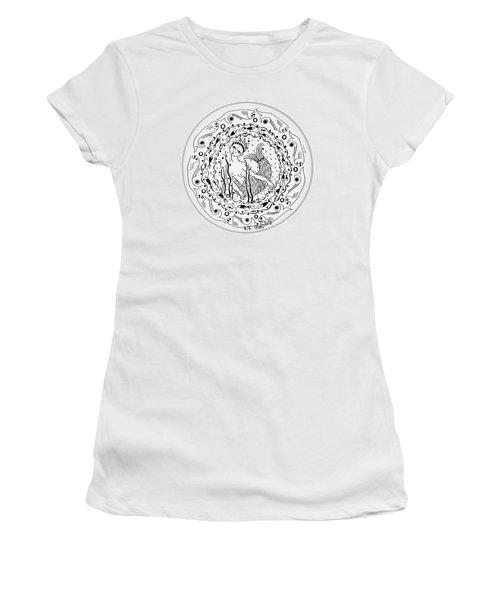 Mermaid In Black And White Round Circle With Water Fish Tail Face Hands  Women's T-Shirt (Junior Cut) by Rachel Hershkovitz