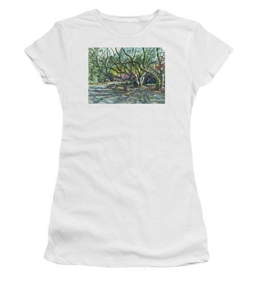 Women's T-Shirt (Junior Cut) featuring the painting Monk Trees Two by Donald Maier