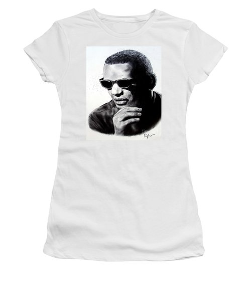 Women's T-Shirt (Junior Cut) featuring the painting Music Legend Ray Charles by Jim Fitzpatrick