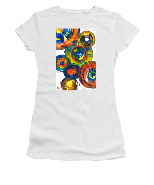 Women's T-Shirt (Junior Cut) featuring the painting My Magical Spheres    859.121811 by Kris Haas