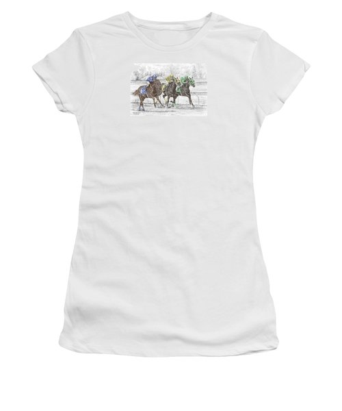 Neck And Neck - Horse Race Print Color Tinted Women's T-Shirt (Athletic Fit)