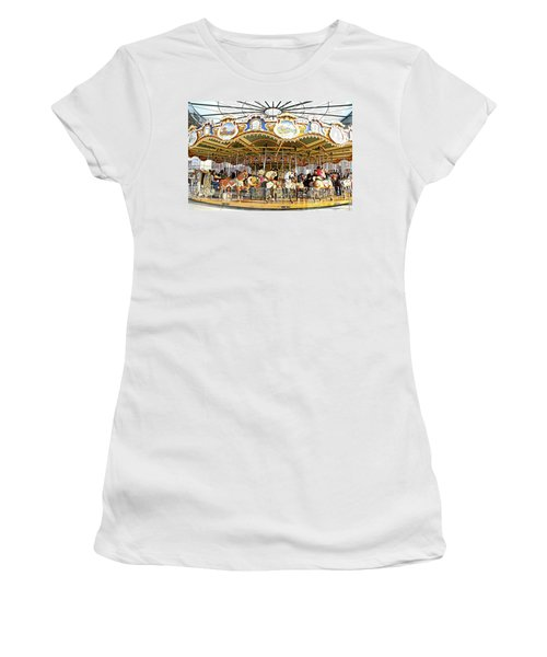 Women's T-Shirt (Junior Cut) featuring the photograph New York Carousel by Alice Gipson