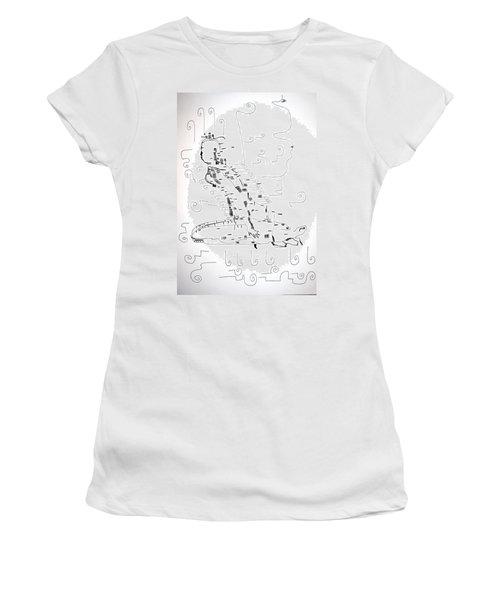 Women's T-Shirt (Junior Cut) featuring the drawing Ngwale Dance - Botswana by Gloria Ssali
