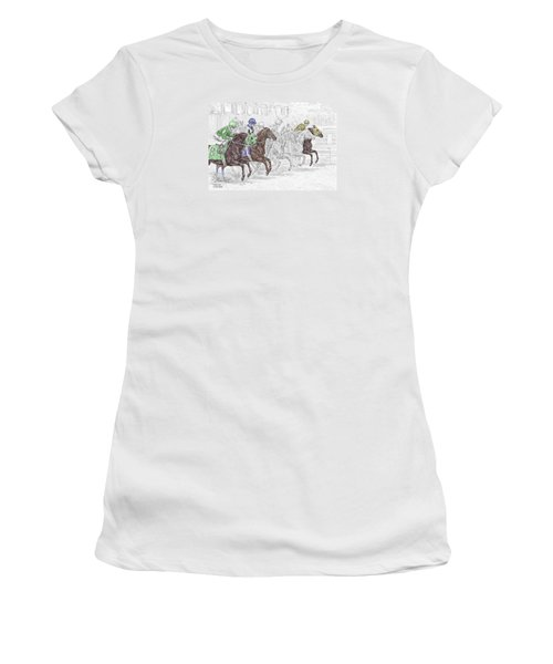 Odds Are - Tb Horse Racing Print Color Tinted Women's T-Shirt (Junior Cut) by Kelli Swan
