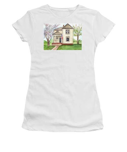 Women's T-Shirt (Junior Cut) featuring the painting Ohio Cottage With Flag by Clara Sue Beym