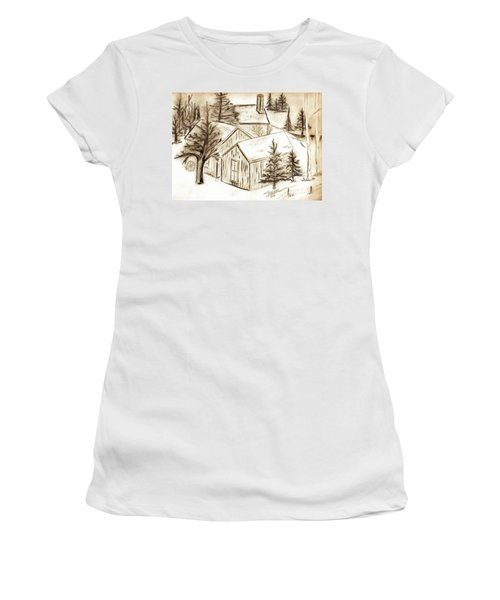 Women's T-Shirt (Junior Cut) featuring the drawing Old Colorado by Shannon Harrington