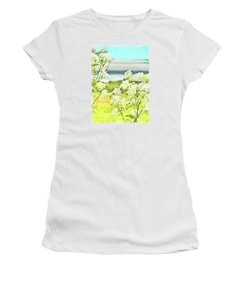Women's T-Shirt (Junior Cut) featuring the digital art On The Mudflats Of Pegwell Bay by Steve Taylor