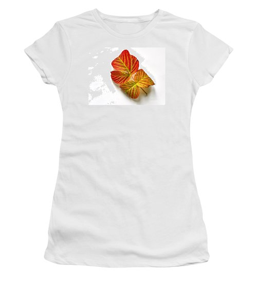 Raspberry Leaves In Autumn Women's T-Shirt (Junior Cut) by Sean Griffin