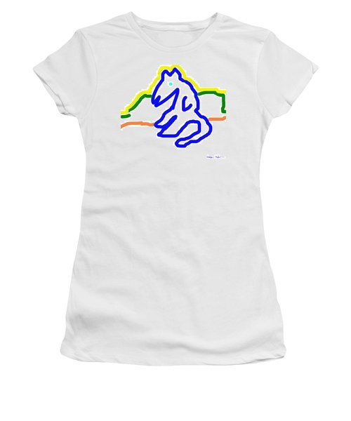 Women's T-Shirt (Junior Cut) featuring the painting Reclining Cat In Blue by George Pedro