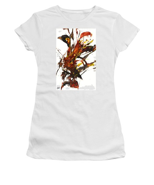 Women's T-Shirt (Junior Cut) featuring the painting Red Flame II 65.121410 by Kris Haas