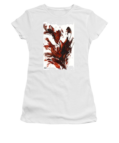 Women's T-Shirt (Junior Cut) featuring the painting Red Flame IIi 64.121410 by Kris Haas