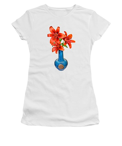 Red Lilies In Blue Vase Women's T-Shirt