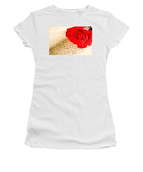 Red Rose Over A Hand Written Letter Women's T-Shirt