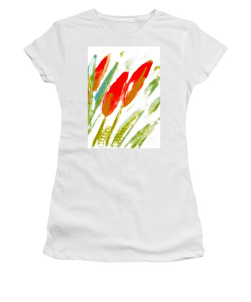Women's T-Shirt (Junior Cut) featuring the digital art Red Tulips by Barbara Moignard