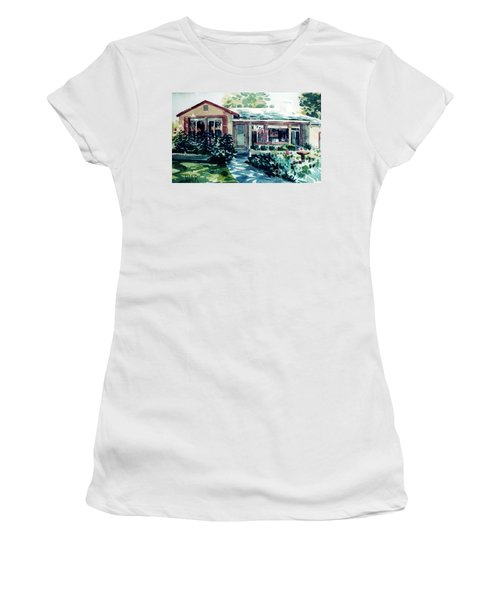 Women's T-Shirt (Junior Cut) featuring the painting Redwood City House #2 by Donald Maier