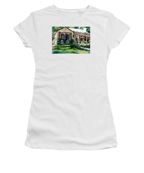 Women's T-Shirt (Junior Cut) featuring the painting Redwood City House #3 by Donald Maier