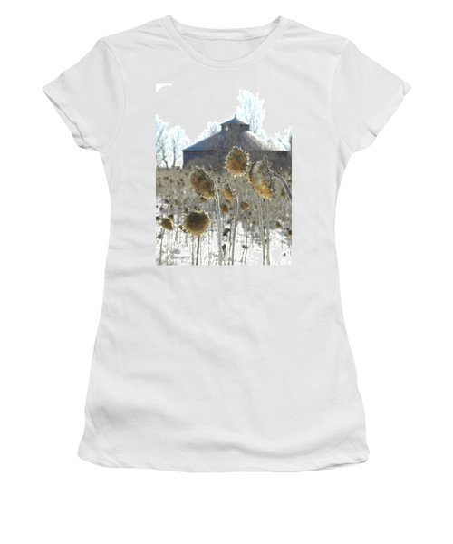 Round Barn With Sunflowers Women's T-Shirt