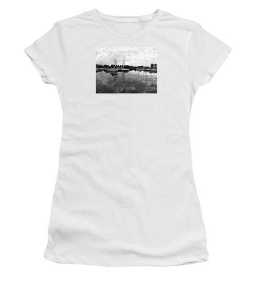 Women's T-Shirt (Junior Cut) featuring the photograph Sailboats At Bluffers Marina Toronto by Susan  Dimitrakopoulos