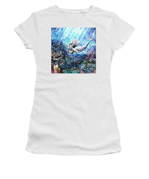 Women's T-Shirt (Junior Cut) featuring the painting Sea Surrender by Shana Rowe Jackson