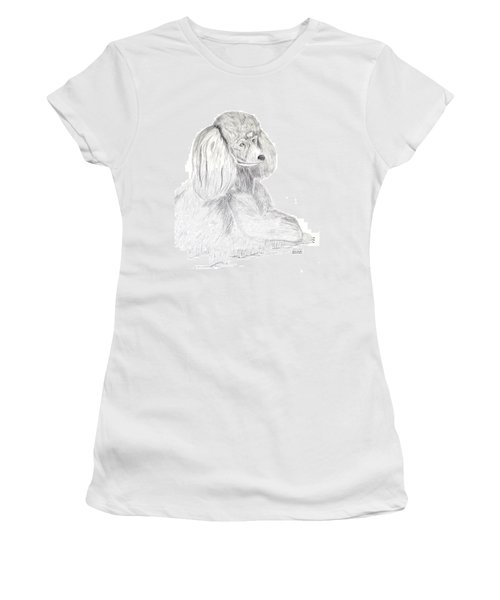Women's T-Shirt (Junior Cut) featuring the drawing Silver Poodle by Maria Urso