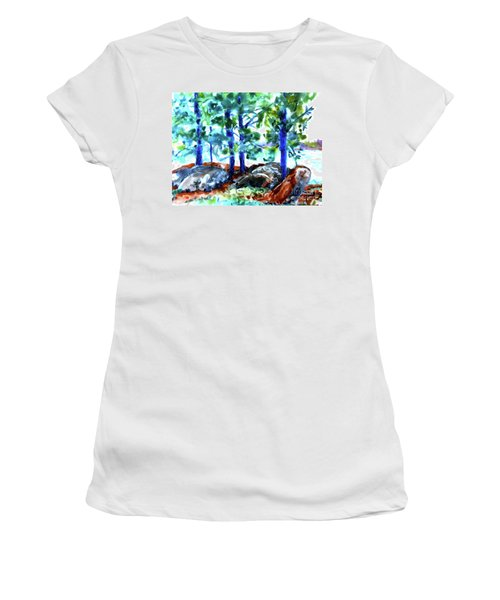 Summer By The Lake Women's T-Shirt (Junior Cut) by Jan Bennicoff