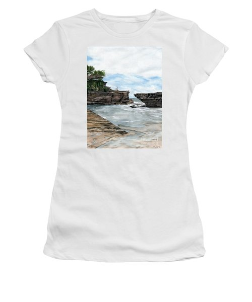 Women's T-Shirt (Junior Cut) featuring the painting Tanah Lot Temple II Bali Indonesia by Melly Terpening